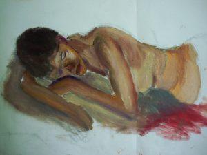 Boscombe Life Drawing class, 27 May 2017. Life painting of Pat