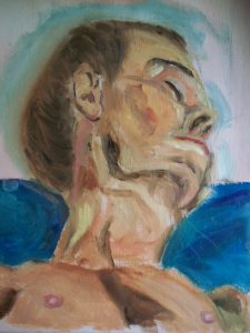 Boscombe Life Drawing class. Oil sketch painting of Robin
