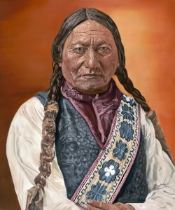 Chief Sitting bull Portrait in oils. 120/100 cm. Completed Nov 2020.