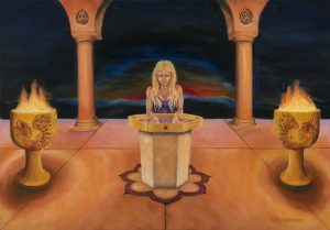 High Priestess in Fire Temple. Painted in oil. Completed august 2017. 100/80 cm