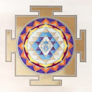 Sri-Yantra Sacred Geometry design. Commissioned oil painting. 70/70 cm