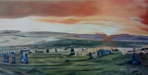 Scorhill Stone circle Dartmoor. Landscape oil painting. 13 November 2018. 100/50 cm