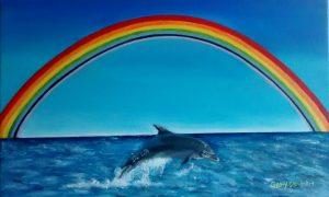 Rainbow & Dolphin seascape oil painting . 40.5/25 Golden ratio size.