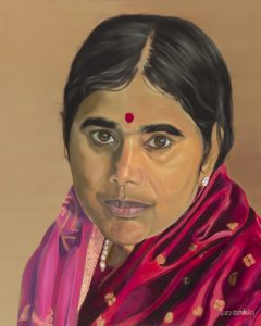 Mother Meera portrait painting in oils. July 2019. 100/80 cm