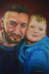 Portrait of my Bother & Nephew in Oil