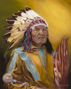Indian Chief- Ghost dance ceremony . Portrait in oil. Completed 17/8/18