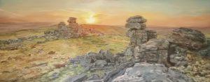Great staple Tor  Dartmoor . Landscape oil painting . 150/60 cm. Started Nov 2020.