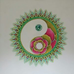 Yin/yang design oil painting commission . 100/100 cm . Started Feb 2021.